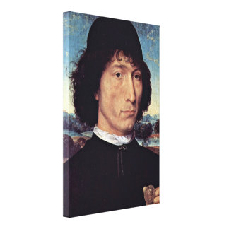Hans Memling - Man holding Coin of Emperor Nero Stretched Canvas Print