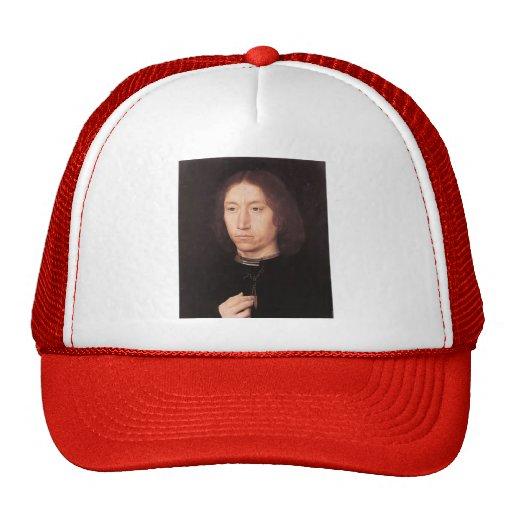 Hans Memling- Portrait of a Man Mesh Hats