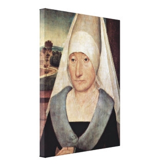 Hans Memling - Portrait of an old woman Stretched Canvas Print