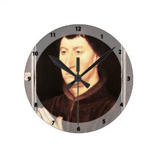 Hans Memling- Portrait of Gilles Joye Wall Clocks