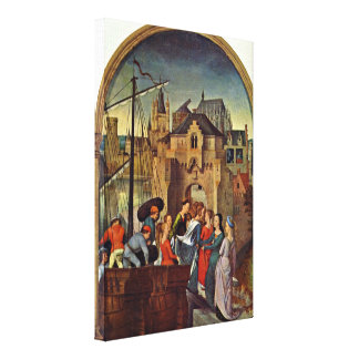 Hans Memling - The arrival of maidens in Cologne Canvas Prints