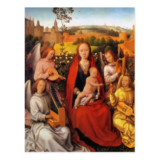 Hans Memling:Virgin and Child with Musician Angels Postcard