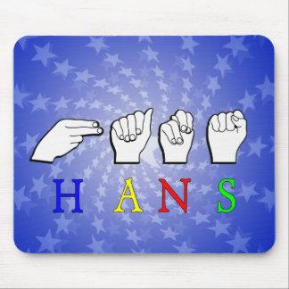 HANS  NAME FINGERSPELLED ASL HAND SIGN MOUSE PADS