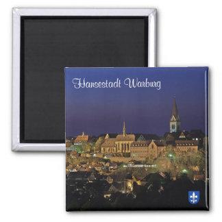 Hanseatic city Warburg at night 2 Inch Square Magnet