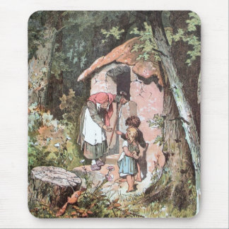 Hansel and Gretel and the Witch at the Door Mouse Pad