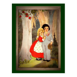 Hansel and Gretel at Forest's Edge Postcard