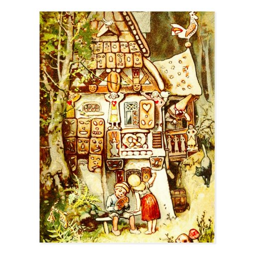 Hansel and Gretel at the Gingerbread Cottage Post Cards