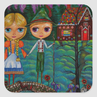 Hansel and Gretel Dolls and the Gingerbread House Square Sticker