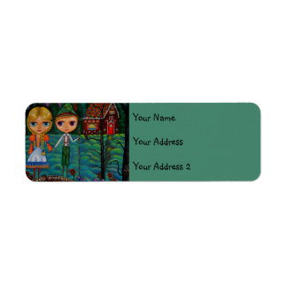 Hansel and Gretel Forest Gingerbread House Candy Label