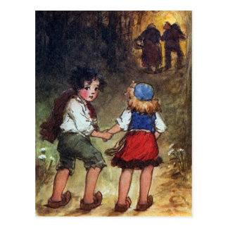 Hansel and Gretel Head Into the Woods Postcard