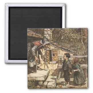 Hansel and Gretel Meet the Witch 2 Inch Square Magnet