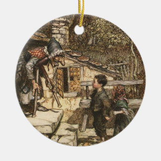 Hansel and Gretel Meet the Witch Ceramic Ornament