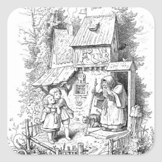 Hansel and Gretel Meet the Witch Square Sticker