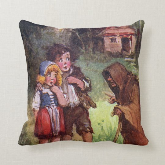 Hansel and Gretel Meet the Witch Throw Pillow