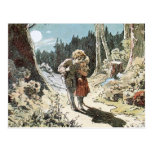 Hansel and Gretel on the Path in the Moonlight Postcard