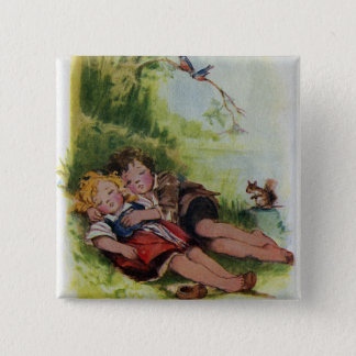 Hansel and Gretel Sleeping in the Woods Button