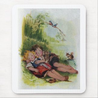 Hansel and Gretel Sleeping in the Woods Mouse Pad