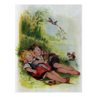 Hansel and Gretel Sleeping in the Woods Postcard
