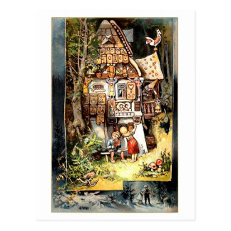 Hansel and Gretel vintage postcard