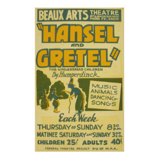 Hansel and Gretel Vintage Theater Poster