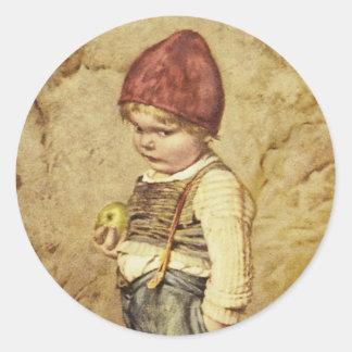Hansel con Apple de oro Pegatina Redonda