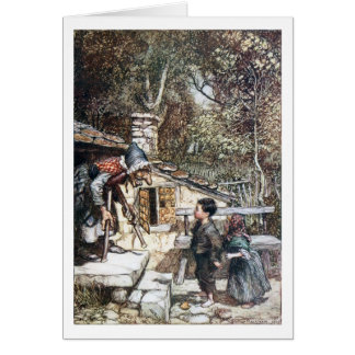 Hansel & Grethel meet the Witch Greeting Card