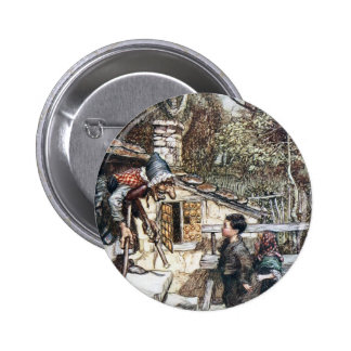 Hansel & Grethel meet the Witch Pinback Button
