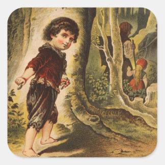Hansel que entra en las maderas con las migajas de pegatina cuadrada
