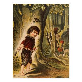 Hansel que entra en las maderas con las migajas de postales