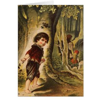 Hansel que entra en las maderas con las migajas de tarjeta de felicitación