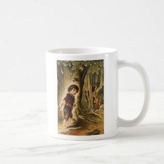 Hansel que entra en las maderas con las migajas de taza