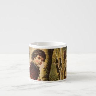 Hansel que entra en las maderas con las migajas de taza espresso