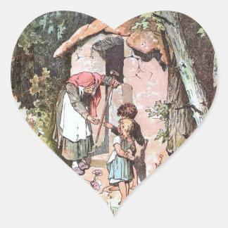 Hansel y Gretel con la bruja traviesa Pegatinas De Corazon Personalizadas