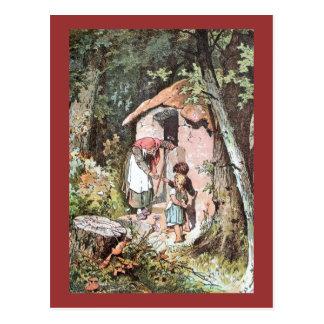 Hansel y Gretel con la bruja traviesa Postal