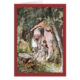 Hansel y Gretel con la bruja traviesa Tarjeta De Felicitación
