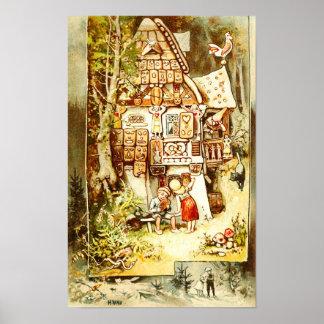 Hansel y Gretel en la cabaña del pan de jengibre Poster