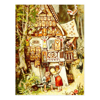 Hansel y Gretel en la cabaña del pan de jengibre Postales
