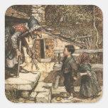 Hansel y Gretel encuentran a la bruja Calcomanía Cuadradase
