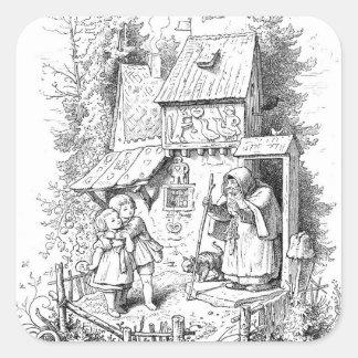 Hansel y Gretel encuentran a la bruja Pegatina Cuadrada