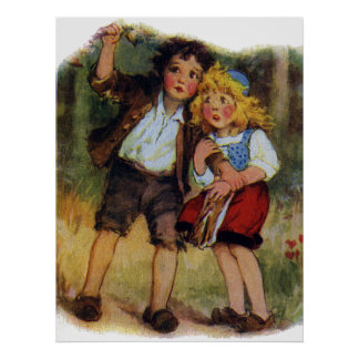 Hansel y Gretel perdidos en las maderas Póster