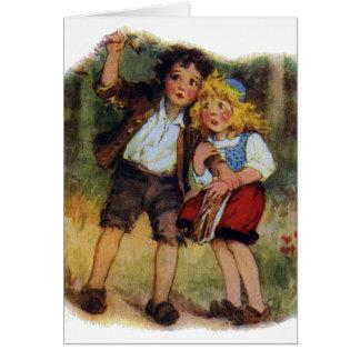 Hansel y Gretel perdidos en las maderas Tarjeta De Felicitación