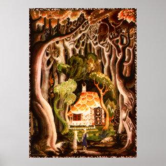 Hansel y Gretel por la impresión de Kay Nielsen Póster