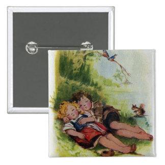 Hansel y Gretel que duermen en las maderas Pin