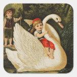 Hansel y Gretel y el cisne Calcomanías Cuadradas