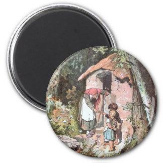 Hansel y Gretel y la bruja en la puerta Imán Redondo 5 Cm