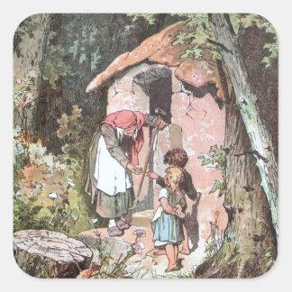 Hansel y Gretel y la bruja en la puerta Pegatina Cuadrada
