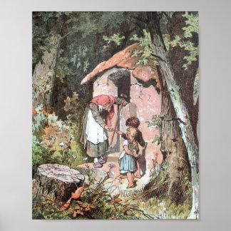 Hansel y Gretel y la bruja en la puerta Póster