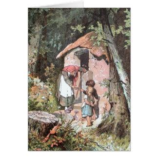 Hansel y Gretel y la bruja en la puerta Tarjeta De Felicitación