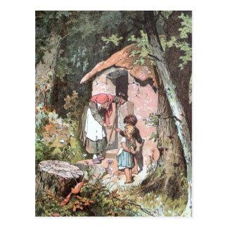 Hansel y Gretel y la bruja en la puerta Tarjetas Postales