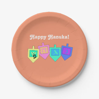 Hanuka feliz platos de papel